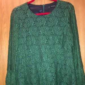 Zara green lace dress Sz.L great for the holidays
